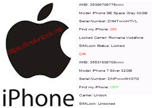 iPhone imei check Sold to + FMI + INITIAL CARRIER Upto iPhone X