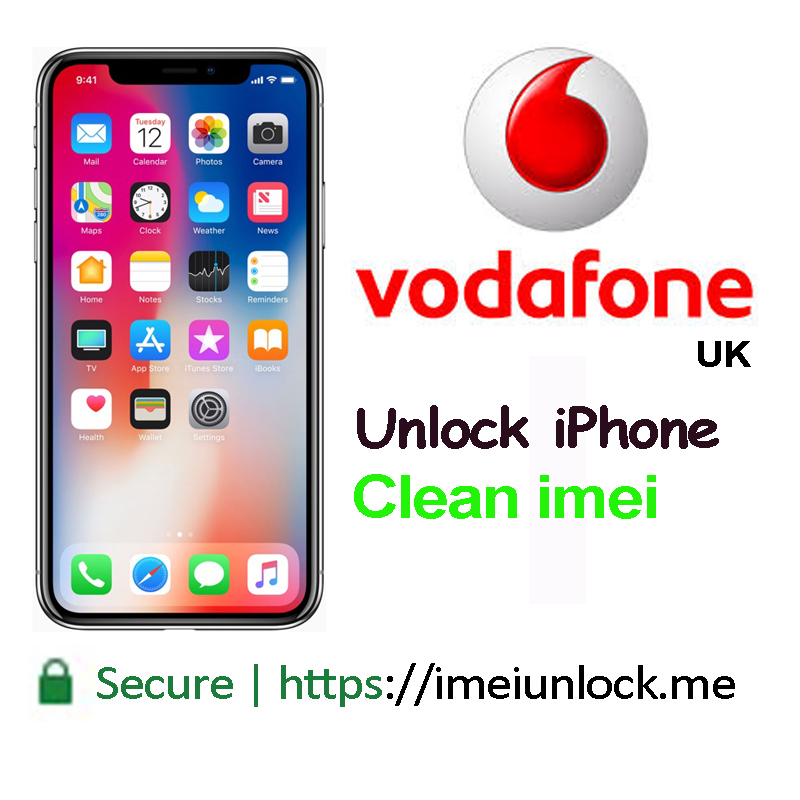 Vodafone UK iPhone 4S/5/5S/5C/6/6+6s/6s+/SE/7/7+ clean